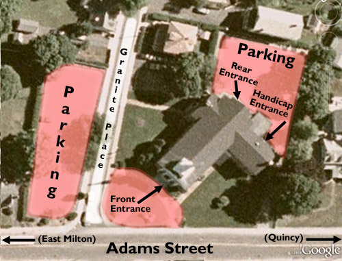 parking and entrances at East Congregational Church