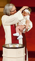 a baptism at East Congregational Church
