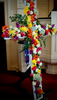 flower decorated Easter cross