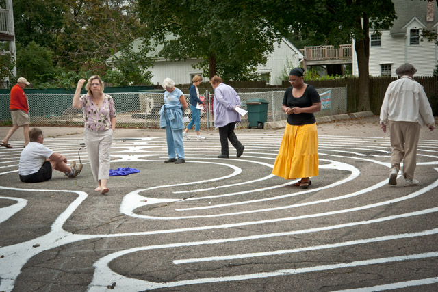 parishioners walk the East Church labyrinth for the first time