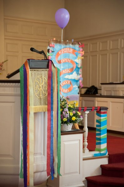 From the Narthex to the Pulpit, the church was brightly decorated