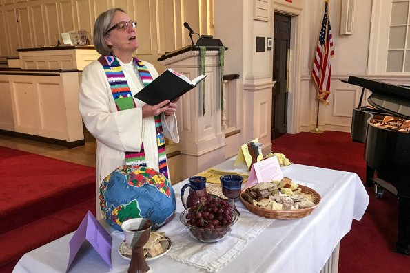 "We observed World Communion Sunday with a Communion ""buffet."" Breads from around the world were placed at stations throughout the Sanctuary."